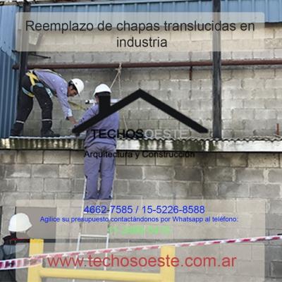 Reemplazo de chapas translucidas en industrias
